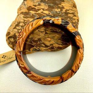 PATRICIA NASH carved two tone bangle bracelet